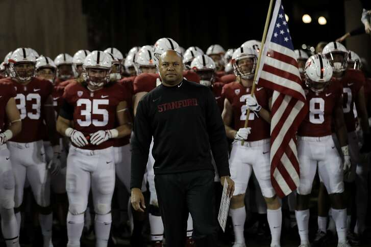 Stanford head coach David Shaw during an NCAA college football game against Washington Friday, Nov. 10, 2017, in Stanford, Calif. (AP Photo/Marcio Jose Sanchez)