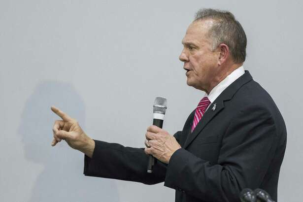 Judge Roy Moore, the Republican nominee for US Senate in Alabama, speaks at the God Save American Revival Conference at Walker Springs Road Baptist Church in Jackson, Alabama USA  on November 14, 2017.  Judge Moore has been facing accusations of sexual assault in the fast few days of his campaign. (Dan Anderson/Zuma Press/TNS)