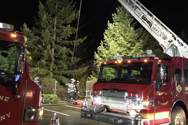 Olympia firefighters on Thursday, Nov. 16, 2017, rescued a man who fell down an embankment while defecating.