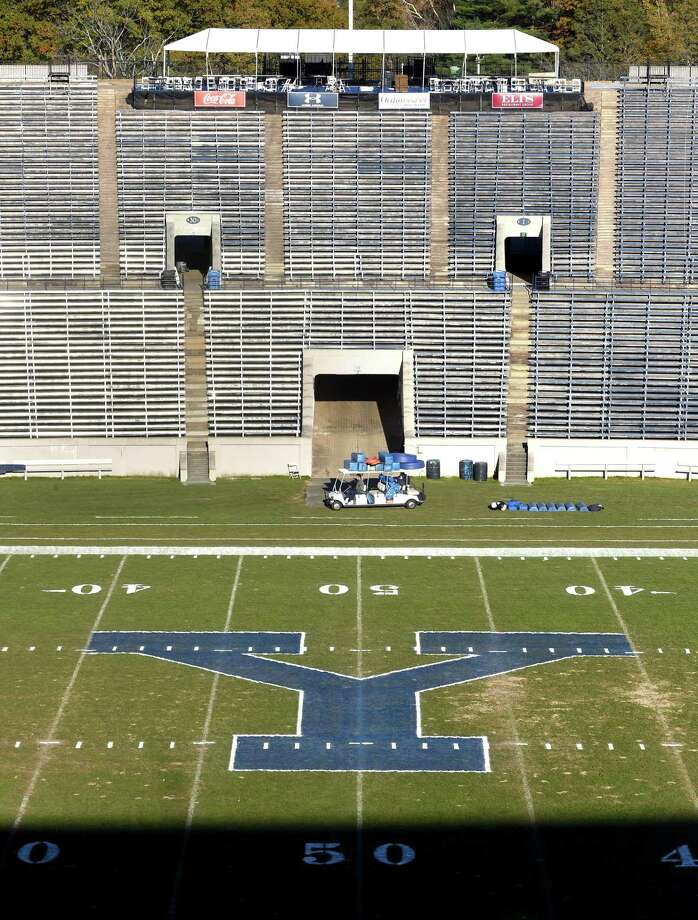 The field at the Yale Bowl has been painted in preparation for the annual Yale/Harvard football game on Saturday. Photo: Arnold Gold / Hearst Connecticut Media / New Haven Register
