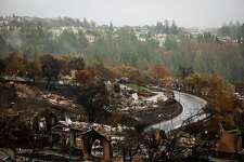 An area of the Fountain Grove neighborhood that was destroyed in the Tubbs fire is seen in Santa Rosa, Calif., on Thursday, Nov. 16, 2017. This same area is now at risk of mudslides due to the weather conditions.