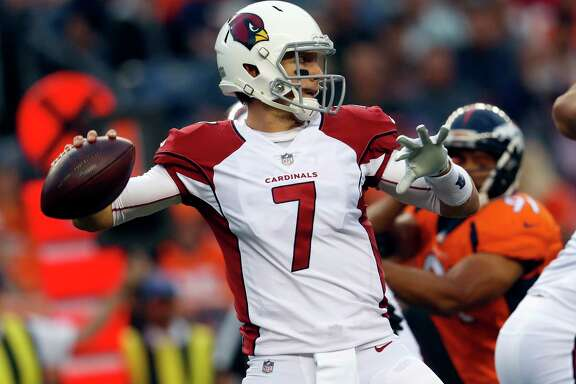 FILE - In this Aug. 31, 2017, file photo, Arizona Cardinals quarterback Blaine Gabbert throws against the Denver Broncos during the first half of an NFL preseason football game in Denver. Gabbert will get his first start for the Arizona Cardinals when they play the Texans in Houston on Sunday, coach Bruce Arians announced Friday, Noc. 17, 2017. (AP Photo/David Zalubowski, File)