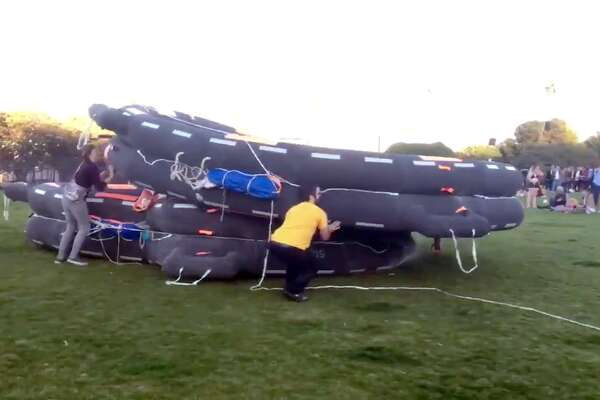 One time use: Inflatable life rafts deployed at Dolores Park on Nov. 11, 2017.