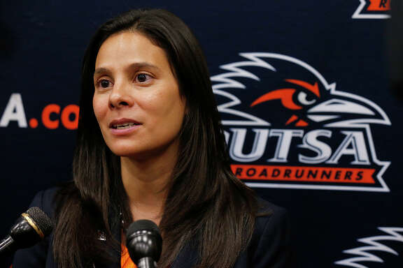 UTSA's new athletics director Lisa Campos answers questions from the media Friday Nov. 17, 2017 at the campus.