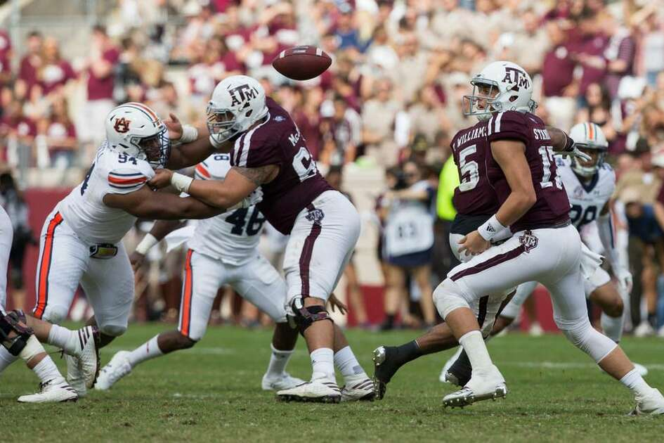 Texas A&M quarterback Nick Starkel (17) watches the football after a fumble against Auburn during the third quarter of an NCAA college football game on Saturday, Nov. 4, 2017, in College Station, Texas.