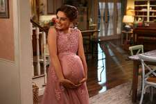"""Actress Meg Donnell as Taylor Otto, a Westport teenager dressed for Halloween as a pregnant Norwalk prom girl in the """"Boo"""" episode of """"American Housewife."""" While the jokes a Norwalks expense have been ongoing, the Halloween episode seemed to particularly stir up anger among residents."""