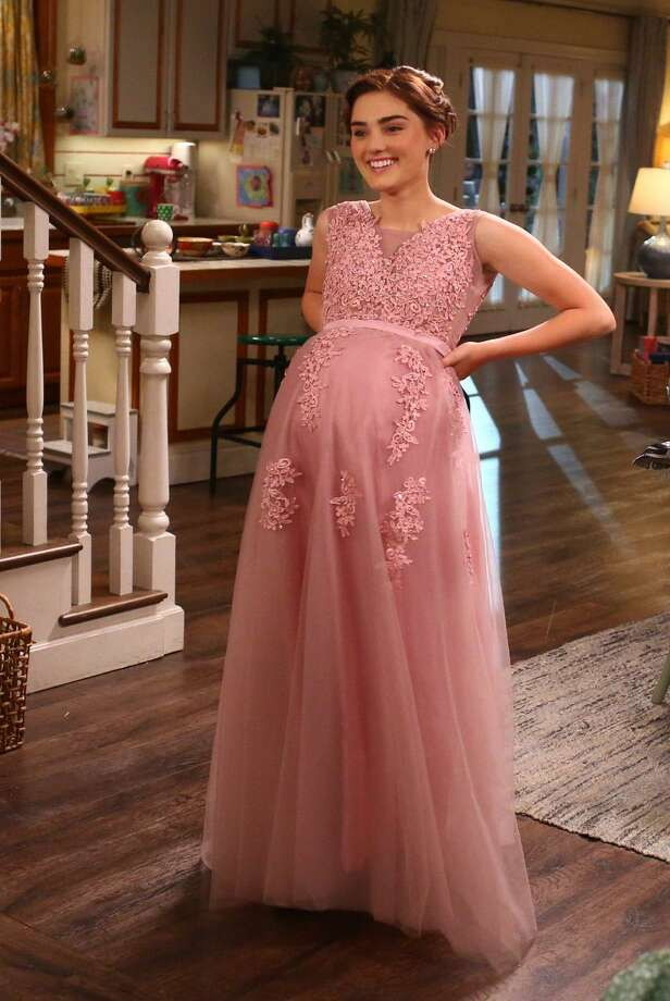 """Actress Meg Donnell as Taylor Otto, a Westport teenager dressed for Halloween as a pregnant Norwalk prom girl in the """"Boo"""" episode of """"American Housewife."""" While the jokes a Norwalks expense have been ongoing, the Halloween episode seemed to particularly stir up anger among residents. Photo: Michael Ansell / ABC Via Getty Images / 2017 American Broadcasting Companies, Inc."""