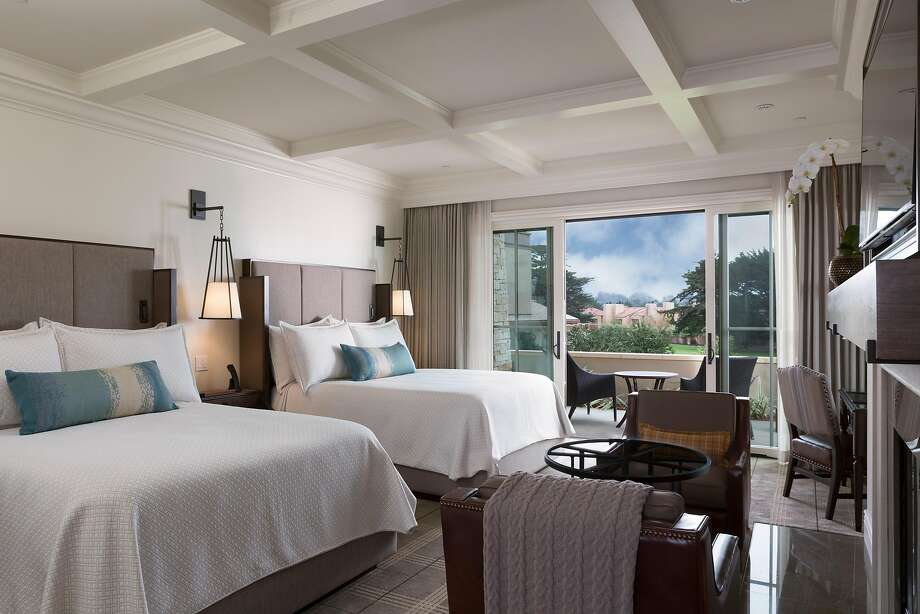 Pebble Beach's new Fairway One includes 30 guest rooms with a king or two queen beds (pictured) and two four-bedroom cottages. Photo: Courtesy Noah Webb/Fairway One At The Lodge
