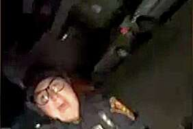 An image taken from a cell phone video shows Bridgeport Police Officer Christina Arroyo during the arrest of Aaron Kearney, 18, of Bridgeport following a traffic accident last Friday evening, Nov. 10, 2017. Arroyo and other officers have been placed on administrative status after allegations that they beat Kearney in the incident.