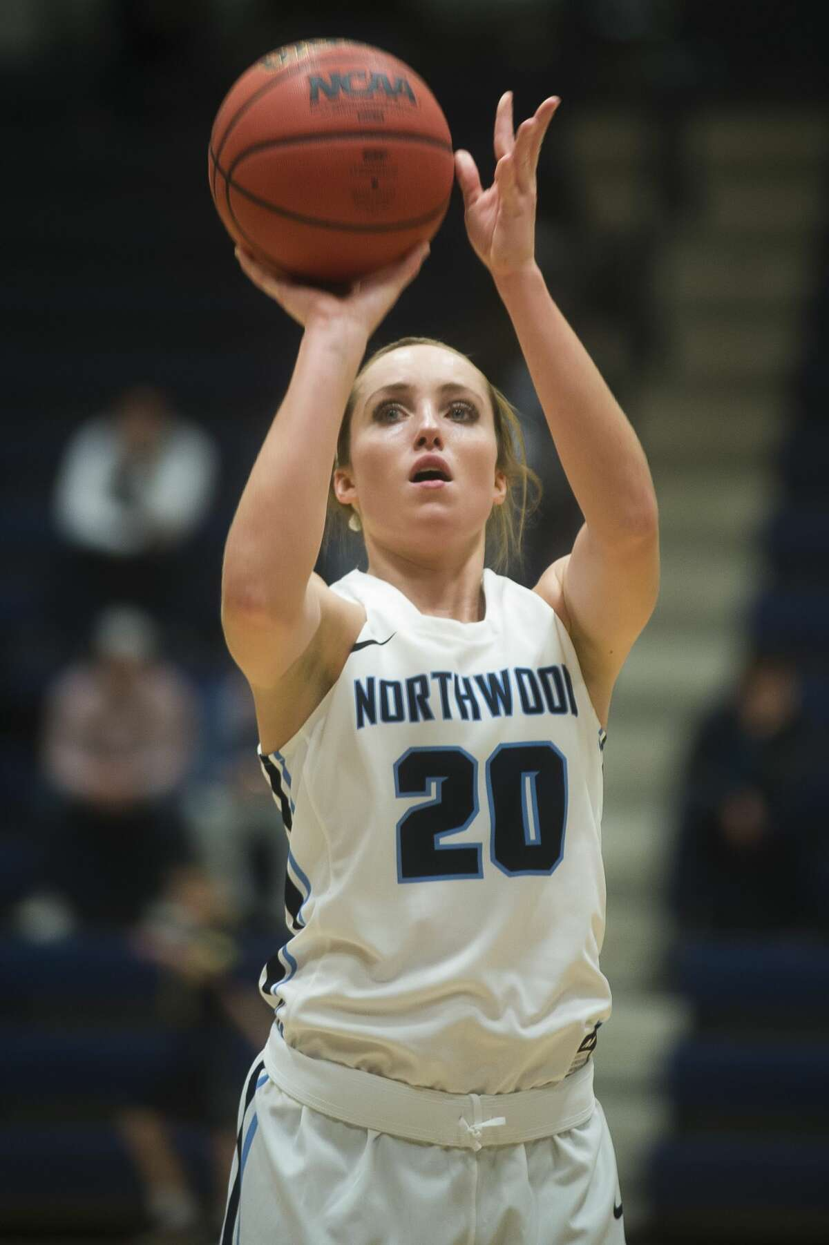 Northwood senior Lindsay Orwat takes a free throw during Northwood's game against Lewis on Friday, Nov. 17, 2017 at Northwood University. (Katy Kildee/kkildee@mdn.net)