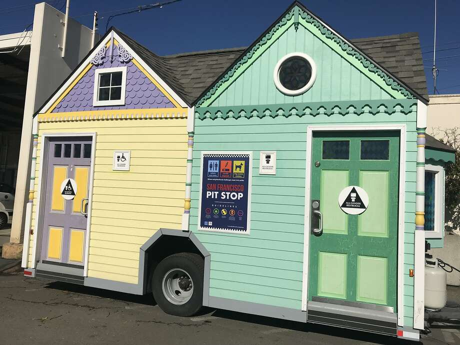 San Francisco's Public Works rolls out its Painted Lady portable toilets just in time for World Toilet Day 2017. Photo: Matier & Ross, San Francisco Public Works