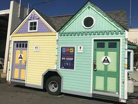 """San Francisco's Public Works rolls out its """"Painted Lady"""" portable toilet just in time for World Toilet Day 2017.  The new latrine is being added to its citywide Pit Stop public toilet program aimed at keeping city sidewalks from being used as toilets."""