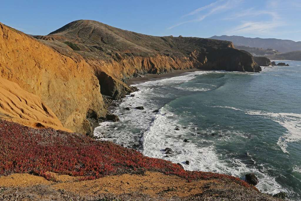 Mori Point's bluff near Pacifica on clear days offers stunning ocean views north to Point Reyes, south to Pedro Point and west to the Farallon Islands in the Pacific.