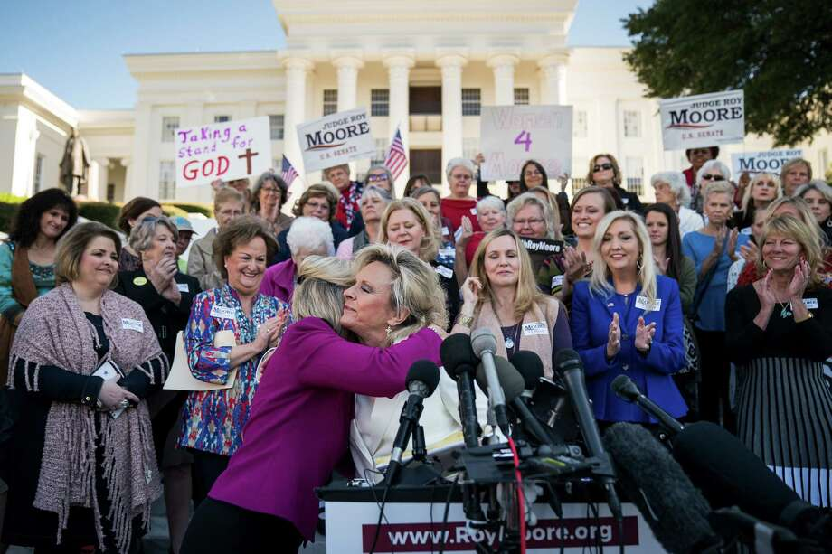 Kayla Moore speaks during a 'Women For Moore' rally in support of her husband, U.S. Senate candidate Roy Moore, at the Alabama State Capitol Friday. Photo: Drew Angerer, Staff / 2017 Getty Images