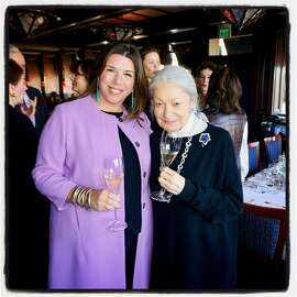 Town & Country editor Stellene Volandes (left) with Denise Hale at Boulevard Restaurant. Nov. 14, 2017.