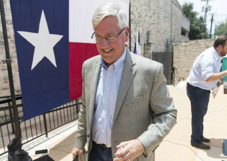 Mike Collier, Democratic aspirant for lieutenant governor of Texas, stumps in Round Rock Texas on June 17, 2017. Collier later made a HALF TRUE claim about Republicans snatching retiree benefits (PHOTO: Ricardo Brazziell, Austin American-Statesman).
