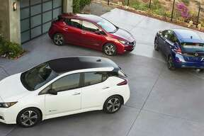 The 2018 Nissan Leaf has a significantly longer range, from 80 to 150 miles, than the 2017 model. The car also features a redesigned exterior.