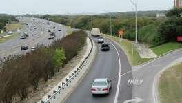 U.S. Highway 281, looking north from the University of the Incarnate Word Sky Bridge.