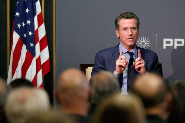 Lieutenant governor Gavin Newsom speaks with Mark Baldassare at the Public Policy Institute of California on Thursday, November 9, 2017 in San Francisco, Calif.