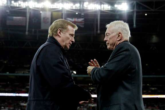 "FILE - In this Nov. 9, 2014, file photo, NFL Commissioner Roger Goodell, left, and Dallas Cowboys owner Jerry Jones talk at the NFL football game between the Jacksonville Jaguars and the Cowboys at Wembley Stadium in London. The Associated Press has obtained a letter sent to Jerry Jones' attorney accusing the Cowboys owner of ""conduct detrimental to the league's best interests"" over his objection to a contract extension for Goodell. The letter accusing Jones of sabotaging the negotiations was sent to David Boies on Wednesday, Nov. 15, 2017. (AP Photo/Matt Dunham, File)"