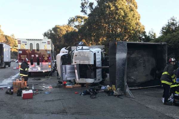A person was killed in a collision with a dump truck and a Muni bus on Friday afternoon in San Francisco, authorities said.
