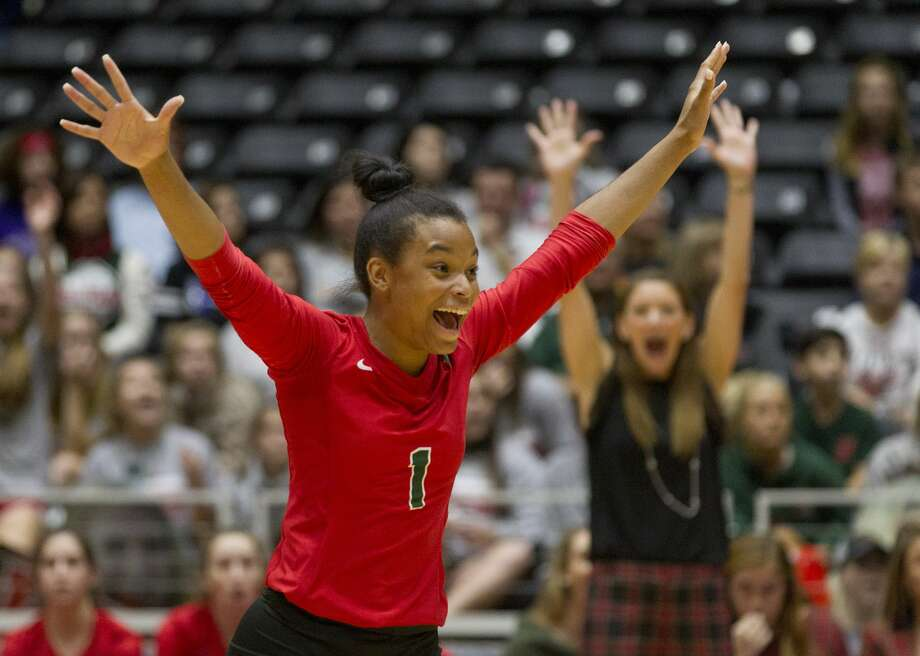 The Woodlands defensive specialist Skylar Scott (1) reacts after scoring an ace during the first set of a Class 6A semifinal volleyball match at the UIL state tournament, Friday, Nov. 17, 2017, in Garland. Photo: Jason Fochtman/Houston Chronicle