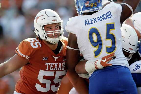 Texas' offense should get a boost up front with the return of All-America tackle Connor Williams (55), who has missed most of the season with a knee injury.