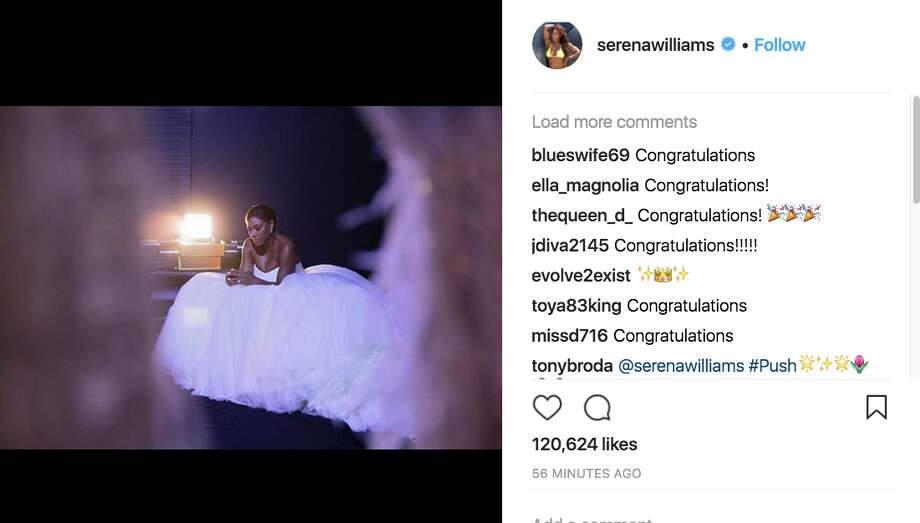 Serena Williams shared a photo of herself in her wedding gown on Friday evening, following her Thursday nuptials to Reddit co-founder Alexis Ohanian. Photo: Instagram
