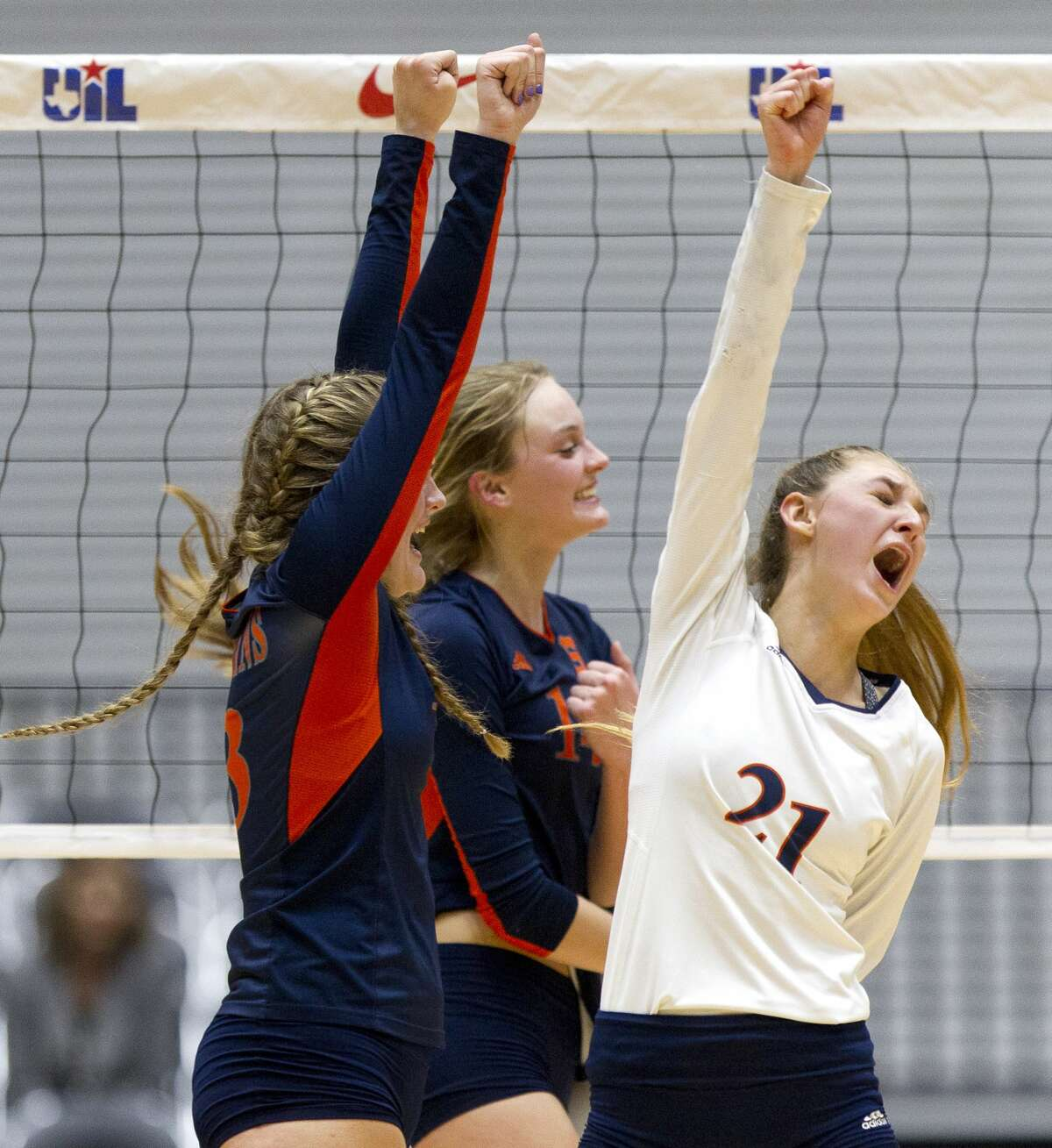 Katy Seven Lakes defensive specialist Natalie Winter (21) celebrates a point during the second set of a Class 6A semifinal volleyball match at the UIL state tournament, Friday, Nov. 17, 2017, in Garland.