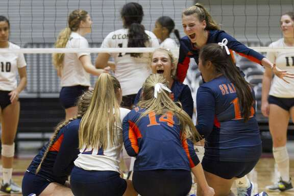 Katy Seven Lakes reacts after defeating Northside O'Connor 3-1 during a Class 6A semifinal volleyball match at the UIL state tournament, Friday, Nov. 17, 2017, in Garland.
