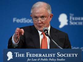 Attorney General Jeff Sessions speaks at the Federalist Society 2017 National Lawyers Convention at the Mayflower Hotel in Washington, Friday, Nov. 17, 2017, about maintaining and strengthening the rule of law. (AP Photo/Carolyn Kaster)