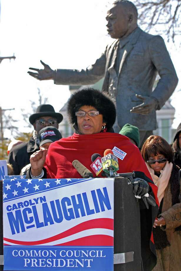 Carolyn McLaughlin announces her candidacy for Albany Common Council President in front of the Martin Luther King Jr. statue in Lincoln Park in Albany, NY on March 3, 2009.  (Lori Van Buren / Times Union) Photo: LORI VAN BUREN/TIMES UNION / 00002700A