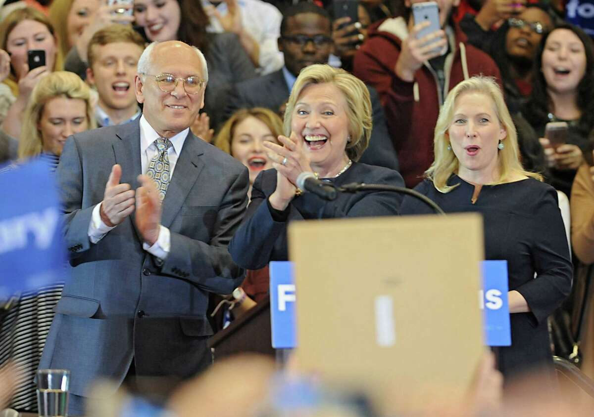 The crowd cheers as Congressman Paul Tonko, presidential candidate Hillary Clinton and United States Senator Kirsten Gillibrand take the stage during a campaign rally at Cohoes High School on Monday, April 4, 2016 in Cohoes, N.Y. (Lori Van Buren / Times Union)