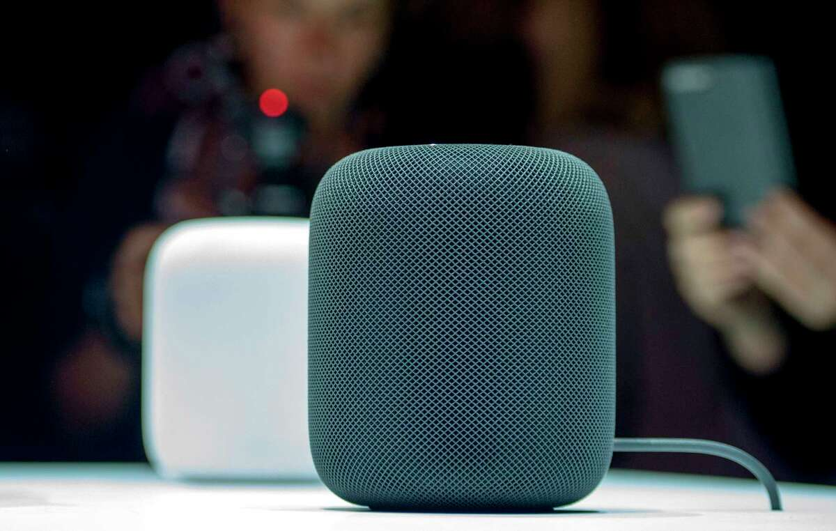 The New Apple HomePod smart speaker was on display earlier this year during Apple's Worldwide Developers Conference in San Jose, Calif. Apple is delaying until early next year the release of the HomePod.