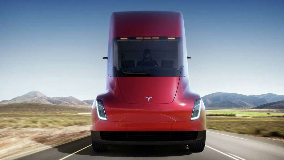 This photo provided by Tesla shows the front of the new electric semitractor-trailer unveiled on Thursday, Nov. 16, 2017. The move fits with Tesla CEO Elon Musk's stated goal for the company of accelerating the shift to sustainable transportation. (Tesla via AP) Photo: HONS / Tesla