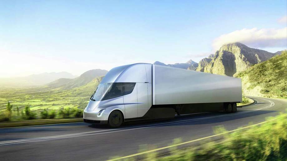 This photo provided by Tesla shows the electric semitractor-trailer the company unveiled this week. Photo: HONS / Tesla