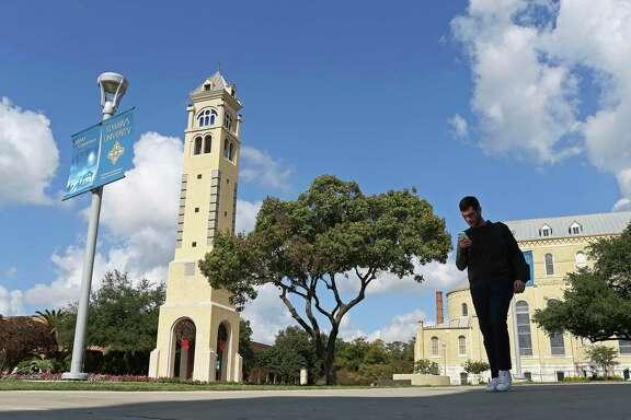 Gonzalo Guerra, 20, of Matamoros, Mexico, walks between classes at St. Mary's University, Thursday, Nov. 16, 2017.