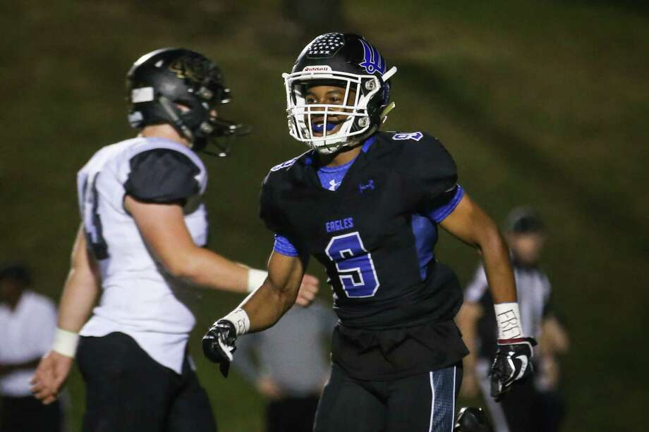 New Caney's Zion Childress reacts after scoring a touchdown during the varsity football game against Vidor on Friday,  Nov. 17, 2017, at Galena Park ISD Stadium. (Michael Minasi / Houston Chronicle) Photo: Michael Minasi, Staff Photographer / © 2017 Houston Chronicle
