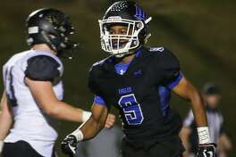 New Caney's Zion Childress reacts after scoring a touchdown during the varsity football game against Vidor on Friday,  Nov. 17, 2017, at Galena Park ISD Stadium. (Michael Minasi / Houston Chronicle)