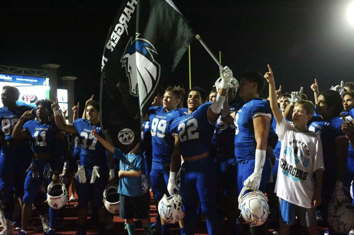 Clear Springs celebrates a victory over Pearland Friday, Nov. 17 at CCISD Challenger Columbia Stadium.