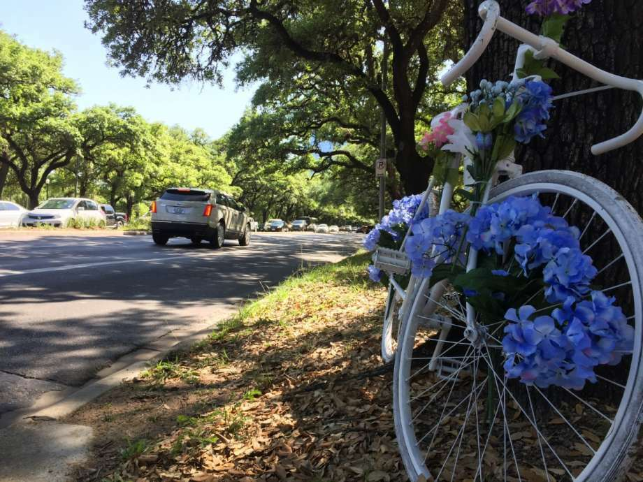 "A ""ghost bike"" honors Majorie Corcoran, who was struck and killed by a Metro train as she rode her bike to Rice University."