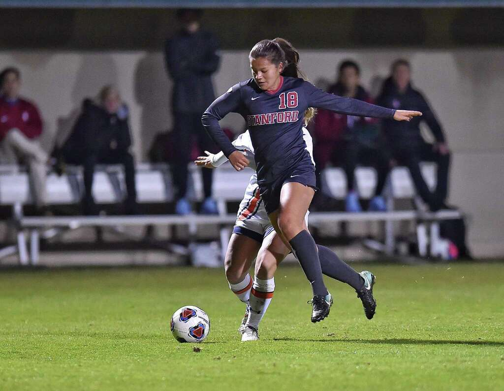 Stanford santa clara advance in ncaa womens soccer sfgate forward sam tran 18 of stanford university dribbles the ball against a player publicscrutiny Gallery