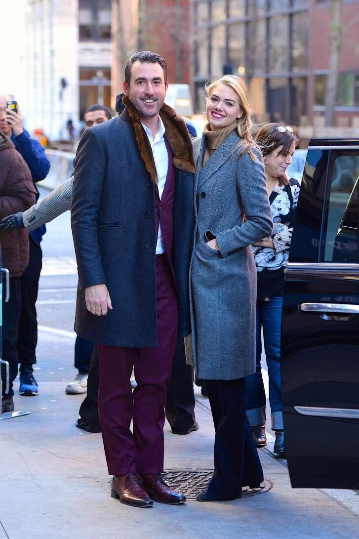 NEW YORK, NY - NOVEMBER 17:  Kate Upton supports Justin Verlander at AOL Build on  November 17, 2017 in New York City.  (Photo by Robert Kamau/GC Images)