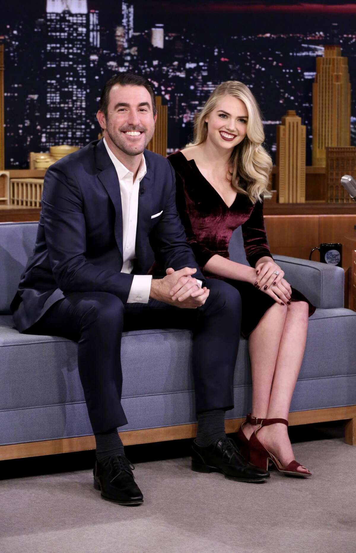 THE TONIGHT SHOW STARRING JIMMY FALLON -- Episode 0772 -- Pictured: (l-r) Athlete Justin Verlander, Model/Actress Kate Upton during an interview on November 17, 2017 -- (Photo by: Andrew Lipovsky/NBC/NBCU Photo Bank via Getty Images)