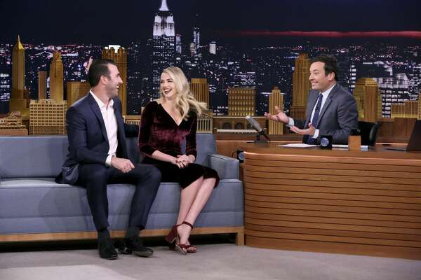 THE TONIGHT SHOW STARRING JIMMY FALLON -- Episode 0772 -- Pictured: (l-r) Athlete Justin Verlander, Model/Actress Kate Upton during an interview with Host Jimmy Fallon on November 17, 2017 -- (Photo by: Andrew Lipovsky/NBC/NBCU Photo Bank via Getty Images)