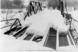 The Castor Road Bridge across the Salt River near North Bradley on the Geneva/Jerome township line. The bridge was built in 1903. February 1979