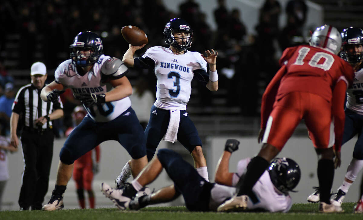 Kingwood senior quarterback Matt Slayton, center, targets a Mustang receiver against Samuel Webb (10) and the South Houston defense with an assist from his linemen, including Lucas Borchers, left, and Austin Hodges (on the ground) in first quarter action of their opening round playoff game at Pasadena Veteran's Memorial Stadium in Pasadena on Nov. 17, 2017. (Photo by Jerry Baker/Freelance)
