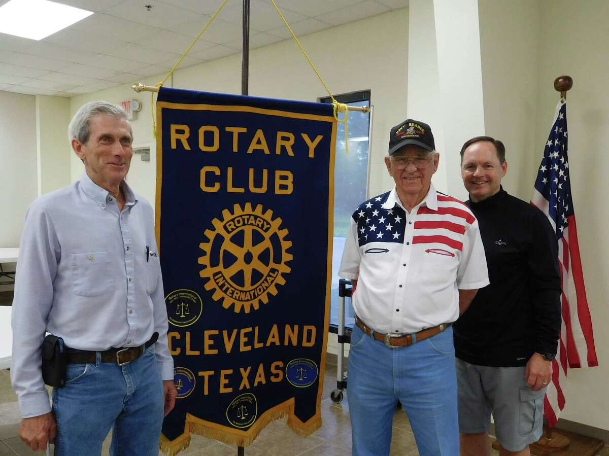 Cleveland poet Allen Hauke (center) is pictured with Rotarian and speaker host James Leach (left) and Rotary President Scott Lambert.