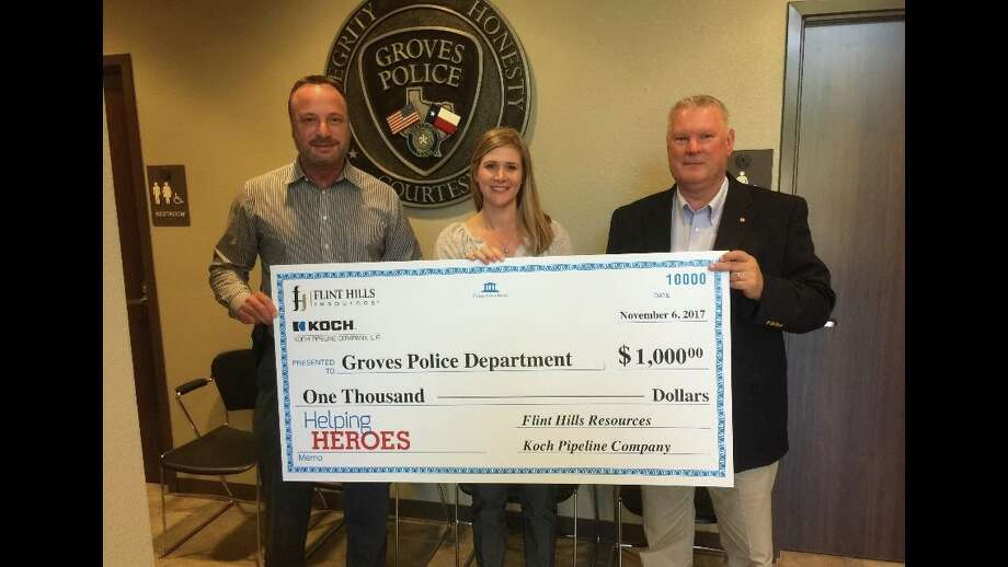 Groves Police Department was awarded $1,000 as part of two organizations' 2017 Helping Heroes program. Photo: Facebook