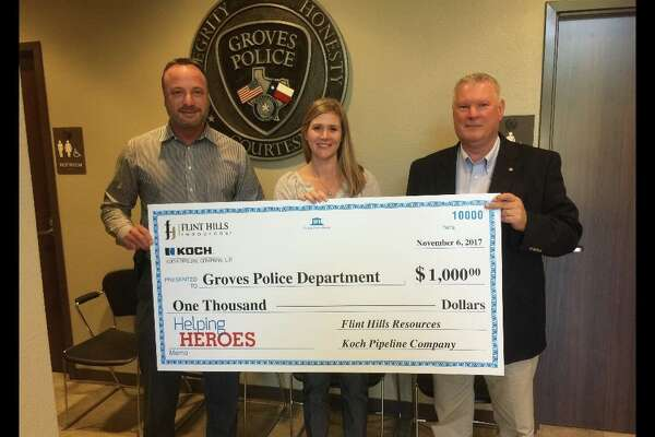 Groves Police Department was awarded $1,000 as part of two organizations' 2017 Helping Heroes program.